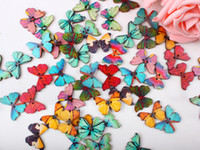 Wholesale Machine Embroidery Crosses - 50pcs Lot colour 2 Holes Mixed Butterfly Wooden Buttons Sewing Scrapbooking DIY TT79