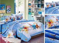 Wholesale Winnie Pooh Comforter Sets - Christmas twin full queen king blue bedding bed linen set cartoon Winnie the Pooh Tigger print duvet cover sheet comforter sets