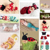 Wholesale Green Baby Knitted Vest - Hot sale!Cute Baby Girls Boy Newborn-9M Knit Crochet Mermaid Minnie Clothes sets Photo Prop Outfits