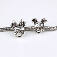 Wholesale Design 925 - Start 100pcs Mickey Mouse Al-ee Charm Bead 925 Silver Fashion Women Jewelry Stunning Design European Style For Pandox Bracelet PAB01-51