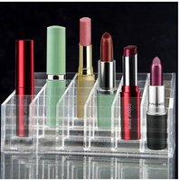 Wholesale Wholesale Lipstick Pendant Necklaces - 24 lattice frame box frame lipstick makeup lip gloss Clear Acrylic 24 Lipstick Holder Display Stand Cosmetic Organizer Makeup Case