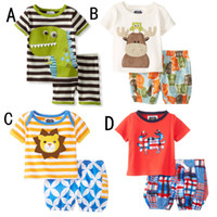Wholesale Dinosaur Baby Boy - Baby Cartoon dinosaur deer 2pcs suits sets(top+short) girls boys outfits Baby Clothes Children clothing kids wear