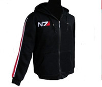 Wholesale Mass Effect Hoodie - 2016 New RPG Game Mass Effect 3 N7 Cotton Cosplay Hoodie Top Coat Cosplay Costume Jacket Men Sportsuit Short Hoody Sweatshirt