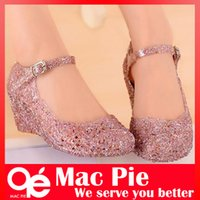 Wholesale Jelly Wedges Sandals - hole shoes flat sandals bird's-nest plastic crystal jelly women sandals shoes