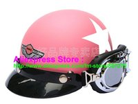 Wholesale Helmet Bol - Wholesale-P.71 New ABS Half Bol Vespa Cycling Half Face Motorcycle Matt Pink # White Star Helmet Visor & Silver Goggles SIZE M , L , XL