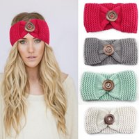 Wholesale Turban Head Wrap Women - Hot Sale winter wool knitted headband Women Adult teenager Mummy hair head band wrap turban headwear with button hair accessories Bohemia