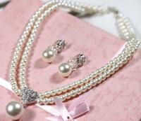 conjuntos de boda de diamantes de perlas al por mayor-novia adornar articulo corazón perla aretes de diamantes collar Conjuntos de bisutería Vestidos de novia estudio acto se oficia el papel ofing