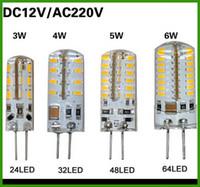 ampoules led g4 6w 12v achat en gros de-Ventes chaudes SMD 3014 G4 110V 3W 4W 5W 6W LED Cristal de Maïs Cristal Lumière DC 12V / AC 220V LED Ampoule Lustre 24LED 32LED 48LED 64LEDs