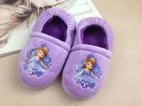 Wholesale Princess Sofia Shoes - Wholesale-Girls Princess Sofia Plush Stuffed Slippers Kids Winter Warm Purple Soft Slipper Children Cartoon Home Shoes