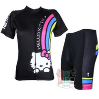 Wholesale Bike Jersey Women Plus Size - #025 Hello Kitty Black color Women Short Sleeve Cycling Kit Bike outlet ciclo Jersey + Shorts Plus Size maillot Geniune Paladin