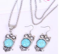 Wholesale Hot New Fashion Jewellery - Hot ! 2015 New Vintage jewelry sets fashion turquoise owl pendant necklace earrings girl's jewellery
