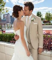 Wholesale Mens Tan Suit Vest - Custom beige wedding suit for men notched lapel mens Suits tan Tuxedos Two Button groomsmen suit three piece suit (Jacket+Pants+Tie+Vest)