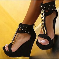 Wholesale Chain Ankle Strap High Heel - Real Image Womens Sandals Wedges Cheap Modest Fashion Ladies Party Shoes Chain T Strap Custom Made Plus Size Back Zipper New Arrive Sexy