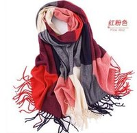 Wholesale Grid Chiffon Scarf - New Fashion 2018 cheap scarves grid Wool cloth with soft nap Style Thin Section the Silk Floss Women Scarf Shawl WJ29