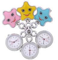 Wholesale Doctor Watch Smile - 50pcs lot Unisex Nurse Watch Five-pointed star smiling smile face Pocket Nurse Watch Quartz doctor metal watch