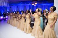 größe 26w formale kleider großhandel-Neue Champagner Brautjungfernkleider Meerjungfrau Eine Schulter Falten Lange Brautjungfernkleider Billig Hohe Qualität Plus Size Formelle Kleider