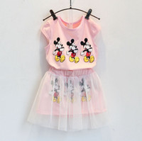 Wholesale Baby Tulle Coat - 2015 Summer Baby Girls 2pcs Set Mickey Mouse Print T-shirt + Tulle Skirt Cotton Outfits Girl's Children Cloth Pink 5sets lot K5368