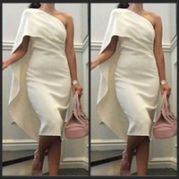 Wholesale Cheap Nude Dresses Crystals - 2016 Evening Dresses Elegant One Shoulder Wear Sexy Cheap Knee Length Cocktail Dress Saudi Arabia Women's Party Gowns Ivory Satin