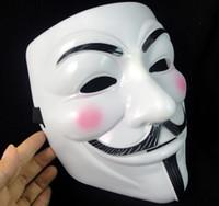 super halloween venda por atacado-V Máscara Máscara de Halloween Masquerade Máscaras Para Vingança Anônima Valentine Ball Party Cara Cheia Super Assustador Guy Fawkes