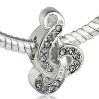Wholesale Sterling Silver 925 Sweet - Wholesale Sweet Music Charm 925 Sterling Silver European Charms Bead Fit Pandora Snake Chain Bracelet Fashion DIY Jewelry