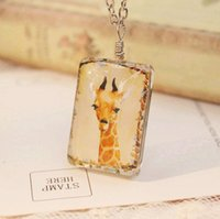 Wholesale Kawaii Deer Wholesale - Kawaii Yellow Deer Giraffe Pendant Necklaces for Christmas Long Pendant Necklaces Handmade Two-Sided Animal Necklaces dxl006