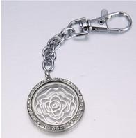 Wholesale wholesale stainless charm locket - 5pcs round rhinestone 30mm floating charm memory key locket key buckle