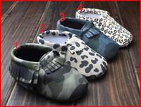 ingrosso scarpe prewalker leopard-2015 Baby First Leopard mocme Baby Camo mocassini soft sole in pelle camo leopardo prewalker stivaletti per bambini infanti arco scarpe in pelle