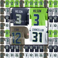 Seattle Seahawk 3 Russell Wilson 12 12th Fan Jersey 31 Kam Chancellor 25 Richard Sherman 29 Earl Thomas Untouchable Limited Rush Jerseys
