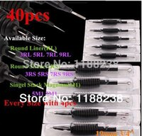 """Wholesale disposable tattoo tubes kits assorted - Wholesale-40 X Disposable Tattoo Machine Grip Tube 3 4""""(19mm) with Suited Needles Assorted 3 5 7 9 RL 3 5 7 9 RS 5 7 M1 ink kit supply"""