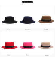 Wholesale Bowler Hat Green - 2016 New Fashion Autumn Winter Women Fedora Hats Brand Cotton Solid Wide Brim Jazz Panama Caps For Woman Unisex Bowler Top Hat