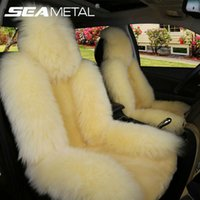 Wholesale Winter Car Seat Covers Cushions - Car Seat Cover Long Wool Winter Universal Sheepskin Fur Front Seat Cushion Natural Covers Car-styling Auto Interior Accessories
