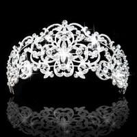 Wholesale Royal Hairs - Gorgeous Rhinestones Crystals Bridal Crowns Tiara Wedding Hair Accessories High Quanlity Royal Style Big Bride Tiara Crown In Stock