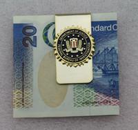 US FBI DEPARTMENT OF JUSTICE METAL BADGE FBI MONEY CLIP