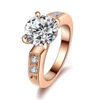 Anello nuziale di fidanzamento trendy placcato oro Anello di cristallo taglio emozionale di Cupid Eight Hearts and Arrows Anello zircone per donna 2017 j443