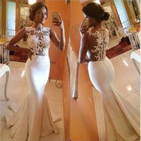 Wholesale Real Sample Celebrity Dress - 2015 Hot Sale Bateau Mermaid Prom Dresses Appliques Sheer Lace Brush Train Formal Evening Dress Celebrity Gowns Real Sample Bridesmaid Gown