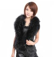 fuchspelzkragenweste groihandel-Große Größe Nachahmung Pelzweste Damenbekleidung 2017 Europa Stil Frauen Weste Nachahmung Fuchs Pelzkragen hochwertige PU Lederjacke Weste