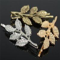 Wholesale Hair Pin Bag - 20pcs bag bridal hair accessory jewelry hair pins New fashion vintage olive branch leaf hair clip side-knotted clips hairpin
