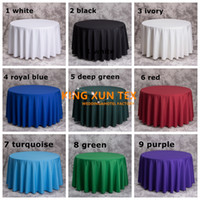 Wholesale Cheap Tablecloths Round Tables - 200GSM High Thick Round Plain Poly Table Cloth \ Cheap Tablecloth For Wedding And Event Decoration Free Shipping