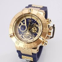 Wholesale working fashion - 2018 INVICTA Luxury Gold Watch All sub dials working Men Sport Quartz Watches Chronograph Auto date rubber band Wrist Watch for male gift