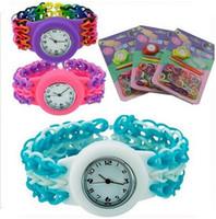 Wholesale Diy Silicone Watch - Rubber Bands Loom Watch DIY Silicone Rubber Weaving Elastic Watches Children Gum Set Bracelet Multicolor Choice For DHL ak09