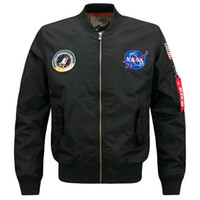 Wholesale free standing letters - Free Shipping Men's Stand Collar Jacket MA01 NASA Pilot Plus Size Autumn Winter Casual Sports Men Bomber Jacket Clothing