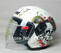 Wholesale half skull helmets resale online - Motorcycle summer helmets off road helmet T536 half open face helmet white skull D