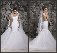 Wholesale Sweetheart Transparent Wedding Dress - Custom Made 2015 Beautiful Court Train Illusion Transparent Back Beaded Lace Mermaid Spring Wedding Dresses Bridal Gowns d41