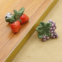 Wholesale Strawberry Furniture - grape and strawberry kids ceramic solid single door furniture handle pull knob for cabinet furniture accessory#308
