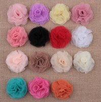 Wholesale Eyelet Flowers - Baby Girls Tulle Multilayers Eyelet Flowers For Diy headbands Kids DIY Christmas Hair Styling Accessories Diy Hair clips AW27