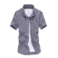 chemises slim fit venda por atacado-FG1509 Camisas Xadrez dos homens 2015 Camiseta Chemise Verão Slim Fit Moda Homens Camisa de Manga Curta Masculina Marca Vestido Camisa ZHY1784