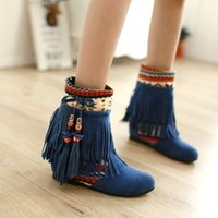 Wholesale black elevator boots - autumn and winter national trend women boots elevator short boots casual sweet boots