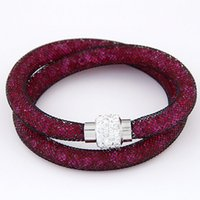 Wholesale Mesh Chain Bracelets - 2015 Double Chain Magnetic Bracelet for Women Mesh Chain With Full Crystal Inside Wrap Bracelet Charm Bracelet High Quality