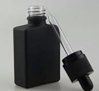 Wholesale Black Frosted Bottles - 15ml 30ml hottest Black rectangular frosted glass dropper bottles, rectangle square dropper bottles,Special gold childproof tamper evident