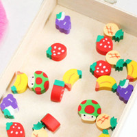 Wholesale novelty pencils erasers - 50pcs New Novelty Students Children Lovely Colorful Fruit Pencil Rubber Eraser Free Shipping Free Shipping